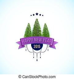 상표, 행복하다, 새로운, 전나무, 벡터, illustration., 년, 나무.