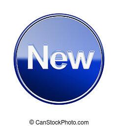 새로운, 아이콘, 광택 인화, 푸른 글래스, 고립된, 백색 위에서, 배경