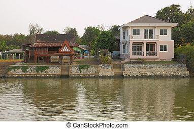 새로운, 와..., 늙은, 집, 스타일, waterfront.