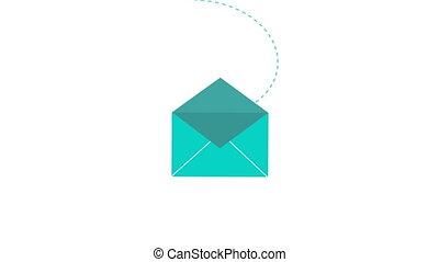 새로운, 전자 우편, 2d 애니메이션, 치고는, 우편물, 메시지, app, 또는, 웹