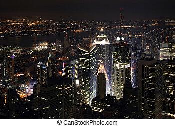 새로운, nightscape, 요크, 도시