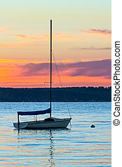 새벽, 통하고 있는, 결정, 호수