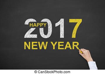 새해, 개념, 2017, 통하고 있는, 칠판