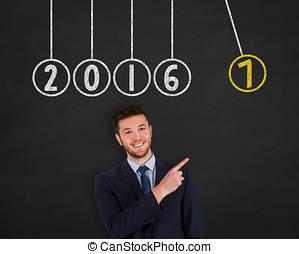 새해, 2017, 에너지, 개념, 통하고 있는, 칠판, 배경