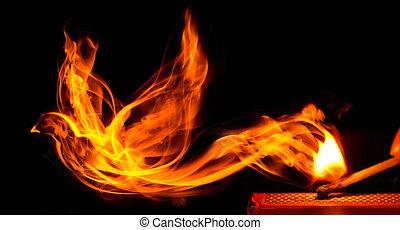 새, 만든, 의, 불, 온다, 에서, a, 타는 것, 성냥개비