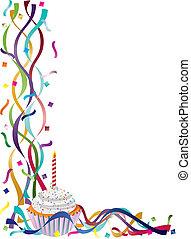 색종이 조각, 생일, 리본, 컵케이크