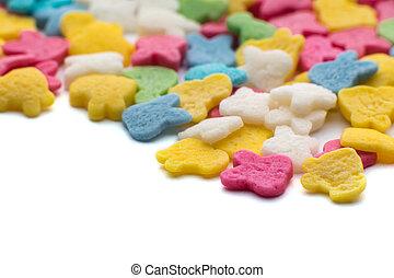 색종이 조각, 조금, 사탕, 다채로운