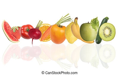 색채가 풍부한, 기치, 의, fruits., 건강에 좋은 음식, 개념