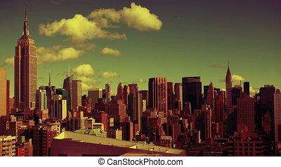 색채가 풍부한, 떼어내다, timelapse, 의, 중간 지구 맨해튼, 지평선, 에서, a, 높은, 유리한...
