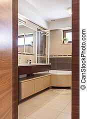 색, 갈색의, 욕실