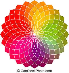 색, 꽃, 바퀴