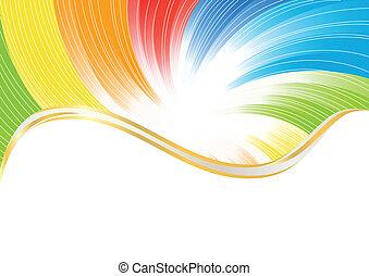 색, 떼어내다, 벡터, 밝은, 배경