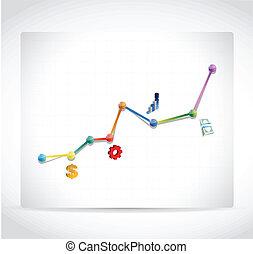 색, 비즈니스 아이콘, 그래프, 삽화, 디자인