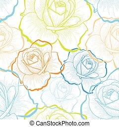 색, 아우트라인, 장미, 백색 위에서, 배경, 벡터, seamless, 패턴