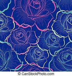 색, 아우트라인, 장미, 통하고 있는, 푸른 배경, 벡터, seamless, 패턴