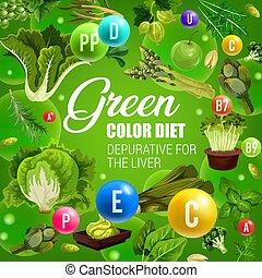 색, 야채, 음식, 규정식, 건강한, 녹색, detox