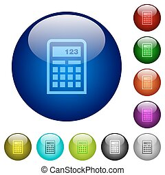 색, 유리, 계산기, 버튼