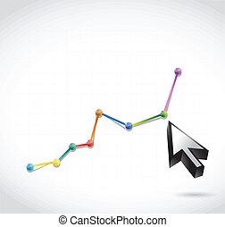 색, 점, 그래프, 와..., 커서, 삽화, 디자인