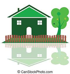 색, 집, 나무, 녹색, 삽화