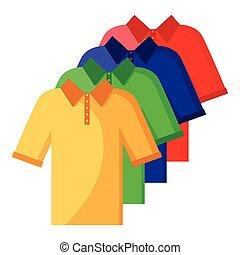 색, 폴로, 세트, 셔츠