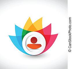 색, avatar, 아이콘, 꽃, 삽화, 디자인