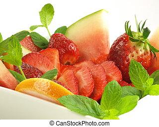 샐러드, 과일, 고립된, 배경