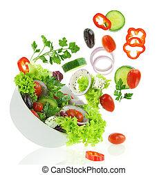 샐러드, 야채, 사발, 여러 잡다한 인간으로 이루어진, 신선한, 눈이 듯한