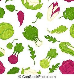 샐러드, 야채, pattern., seamless, 양상추, 양배추