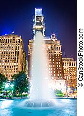 샘, 에, 사랑, 공원, 밤에, 에서, 센터, 도시, 필라델피아, pennsylvania.