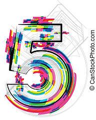 샘, illustration., 수, 5., 벡터, 삽화
