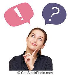 생각하는 여성, 와, 다채로운, 물음표, 와..., 외침, 에서, 기구, 고립된