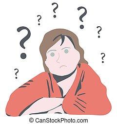 생각하는 여성, 혼란한다, 질문