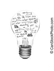 생각, 개념, -, 전구, 와, 밝은, 백열하는 것, 와, 수학, 공식, 와..., 그래프, 고립된, 백색 위에서, 배경.