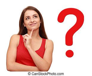 생각, 소녀, 위로 보는, 와, 빨강, 질문, 표시, 공간으로 가까이, 그녀