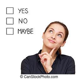 생각, 여류 실업가, 제작, 결정, 예, 아니오, 또는, 아마, 고립된, 백색 위에서, 배경