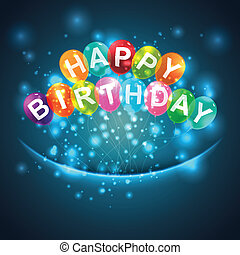 생일, 기구, 배경, 행복하다