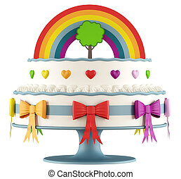 생일, 다채로운, 케이크, 아이들
