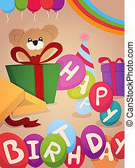 생일, 디자인, 인사장, 행복하다