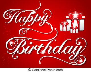 생일, 디자인, 카드, 행복하다