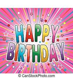 생일, 배경, 인사, 다채로운, 행복하다