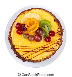 생일, 백색, 고립된, 케이크, 과일, 배경.