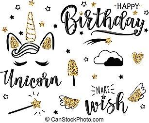 생일, 벡터, 세트, 삽화, 행복하다
