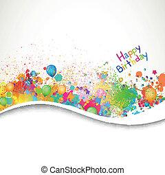 생일, 벡터, 인사장, 행복하다