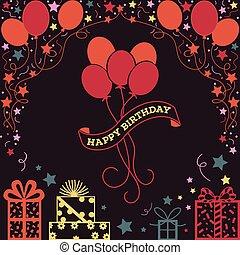 생일, 삽화, 배경, 행복하다