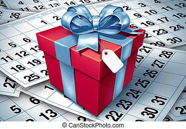 생일 선물, 통하고 있는, a, 달력, 배경