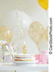 생일, 장식식의, 케이크, 통하고 있는, 다채로운, 배경