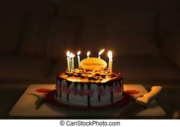 생일 초, 다채로운, lit., 배경, 케이크, 검정