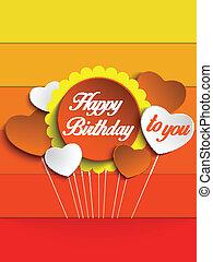 생일 축하합니다, 다채로운, 배경, 카드