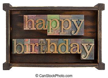 생일 축하합니다, 에서, 활판 인쇄, 유형