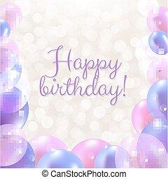 생일 축하합니다, 카드, 와, 파스텔, 기구